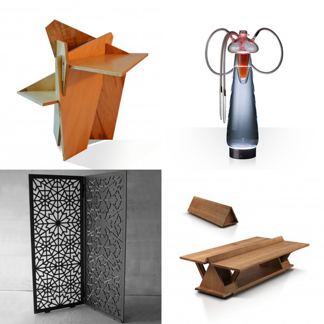 Some additional A' Design Award winners (clockwise from top left): Origami Rose Multifunctional Table by Joyce Chan, Medusa Pipes by Jakub Lanča, Prism Folding Low Table by Nak Boong Kim, and Positive and Negative by Mona Hussein.