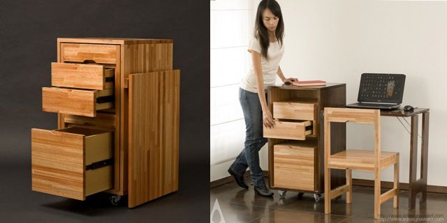 Ludovico Office by Claudio Sibille is a convenient drawer, chair, and desk combo.