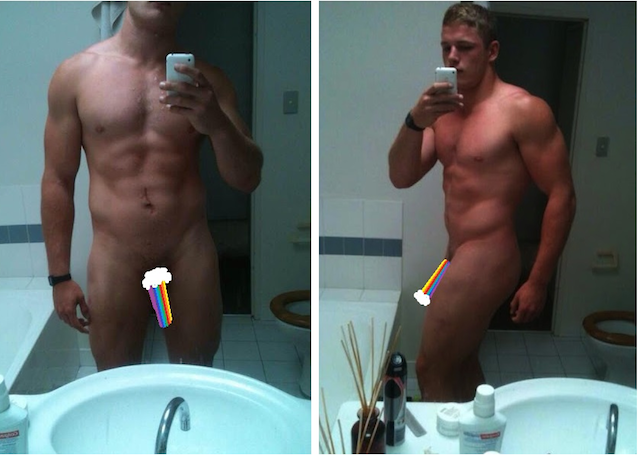 George Burgess' nude erotic selfies that circulated the web this summer 2013. Sorry, you can't remove the rainbow! Image via TheGailyGrind.com