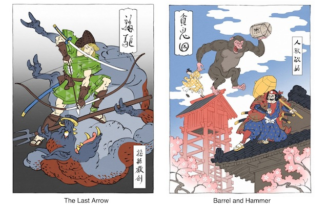 Link and Donkey Kong reimagined in ukiyo-e style. Images via Jed Henry.
