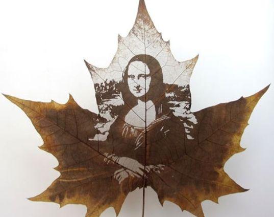 A leaf art work (image via mundogump.com.br)
