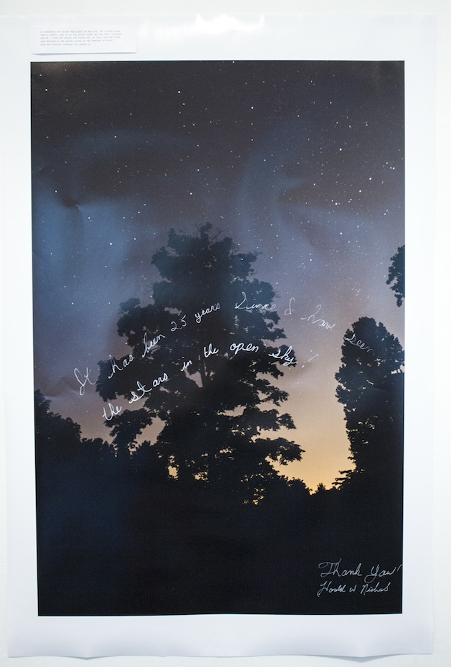 """Robin Paris and Tom Williams with writing by Harold Wayne Nichols, """"Surrogate Project for Harold Wayne Nichols: The Night Sky Series"""" ('It has been 25 years since I have seen the stars in the open sky!'), photograph"""