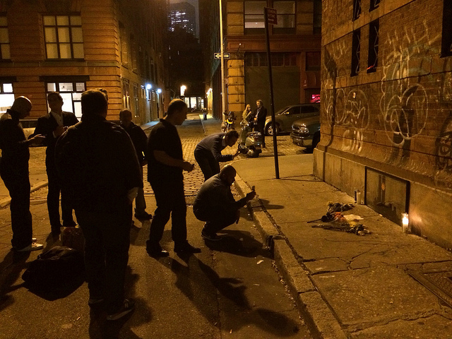 People visiting the Tribeca Banksy late last night at approximately 11:30pm EDT (All photos by the author for Hyperallergic)