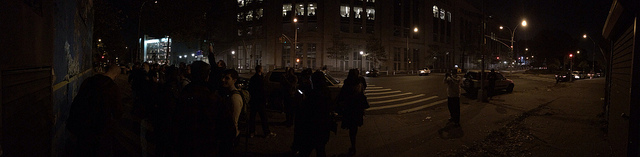 The scene around the Bronx Zoo work last night at roughly 9:30pm (click to enlarge)