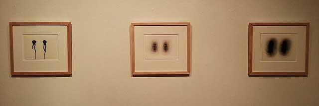 """Joanne Aono, """"Twin Fugato"""" series (2013), ink, pastel, oil, graphite on paper, 5.5"""" x 7.5"""""""