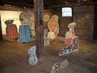 """Broc Blegen, """"Allen Ruppersberg, Big Trouble"""" (2010/2013),10 framed pigment prints on paper with cutouts and 15 standing sculptures of pigment on plywood, dimensions variable (click to enlarge)"""