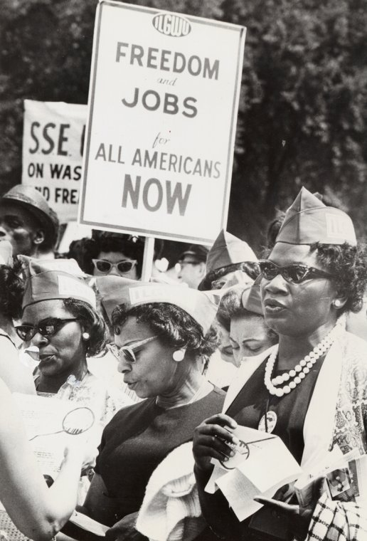 Members of the International Ladies Garment Workers Union at a rally, circa 1940s. (Source: New York Public Library Digital Collection