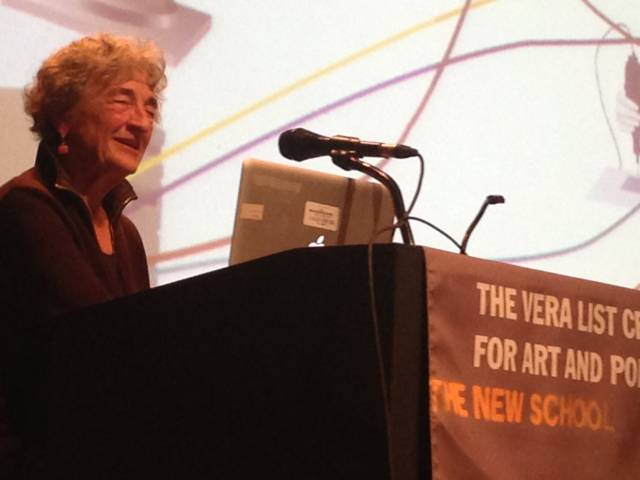 Lucy Lippard answers questions from the audience with a warm smile