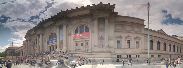 An exterior panorama of the Metropolitan Museum of Art (photo by Michael Gray, via Flickr)