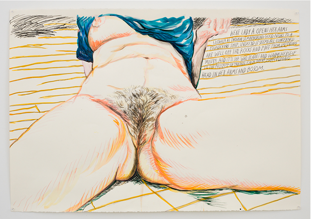 """Raymond Pettibon, """"No Title (Here Lady A…)"""" (2013), ink, colored pencil, and watercolor pencils on paper, 30 3/8 x 44 in (courtesy David Zwirner)"""