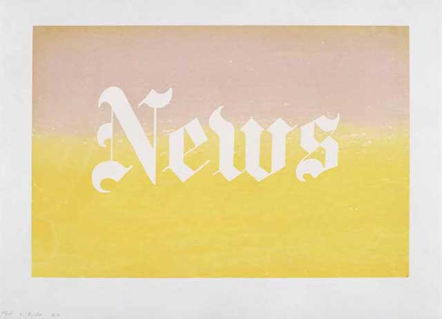 """Edward Ruscha, """"News, from the Portfolio News, Pews, Brews, Stews and Dues"""" (1970), silkscreen, edition of 125, 27 x 35 in"""" (image via ipcny.org)"""