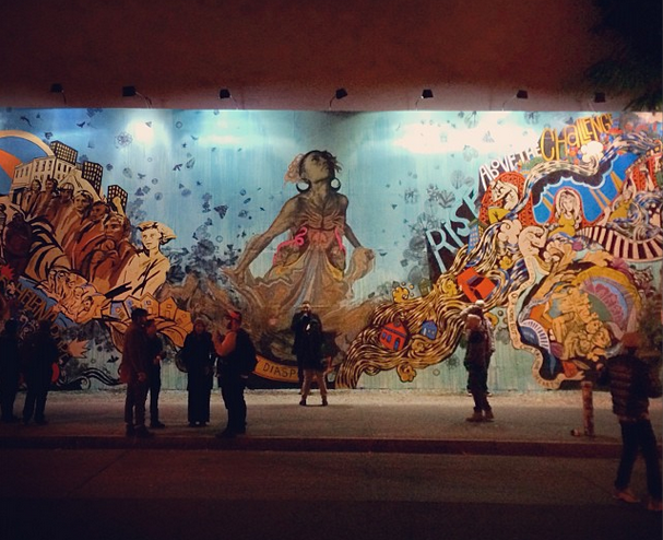 A pic I snapped of the Swoon mural (in progress) last Friday night. (photo by the author for Hyperallergic)