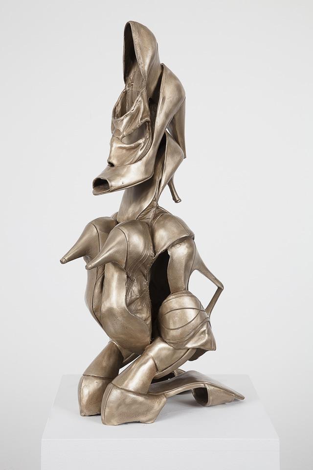 "Willie Cole, ""Shoonufu Female Figure"" (2013), bronze with unique patina  25 x 9 1/2 x 13 in/63.5 x 24 x 33 cm, edition of 7 (photo: Joerg Lohse)"
