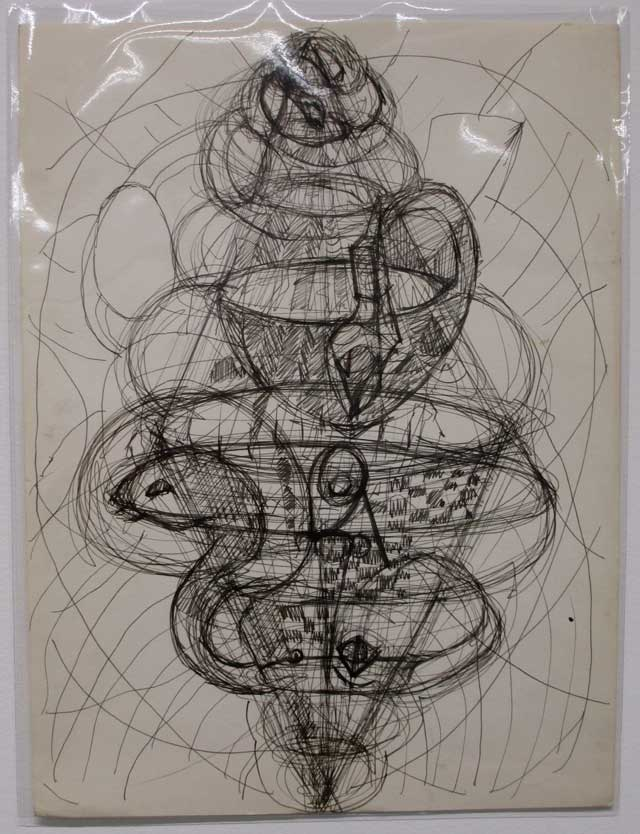 A drawing by Lionel Ziprin (photo by Eve Aschheim)