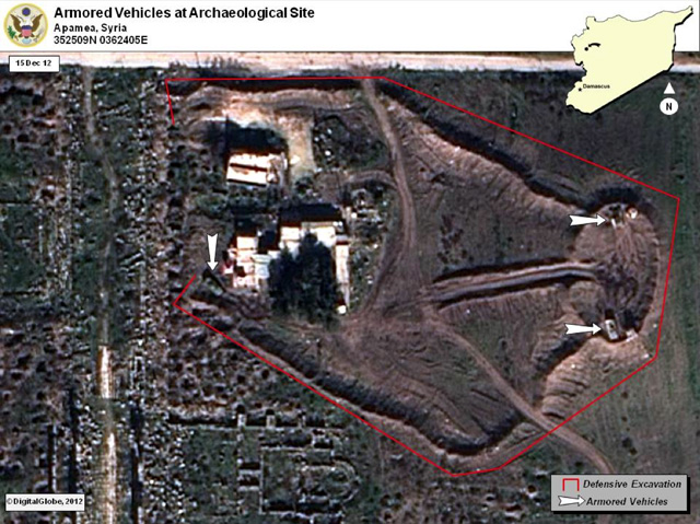 Ground was excavated as a defensive measure around the armored vehicles.