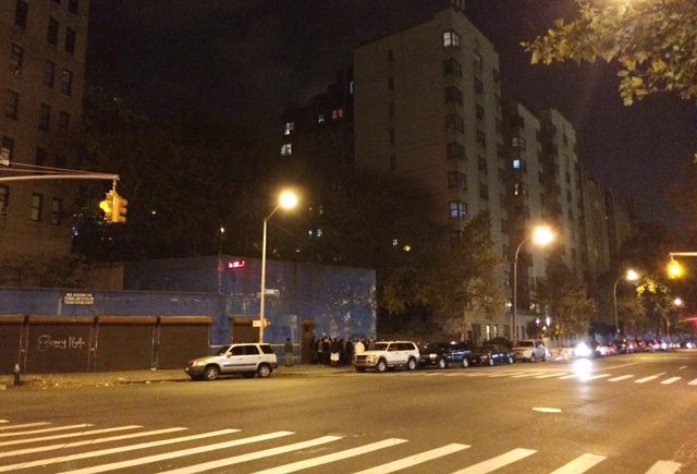 The Bronx Zoo piece last night in Highbridge, Bronx at around 9pm EDT. (all photos by the author for Hyperallergic unless otherwise noted)