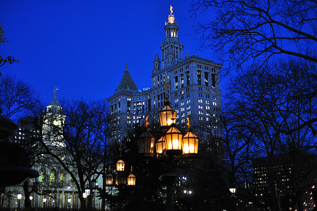 New York City Hall (through the trees), an Archtober Building of the Day (photograph by Shawn Hoke/Flickr user)