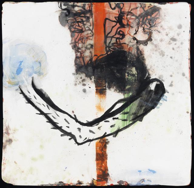 """Diane Christiansen, """"Secret Obstacles"""" (2013), oil on plaster, 12 x 12 in"""