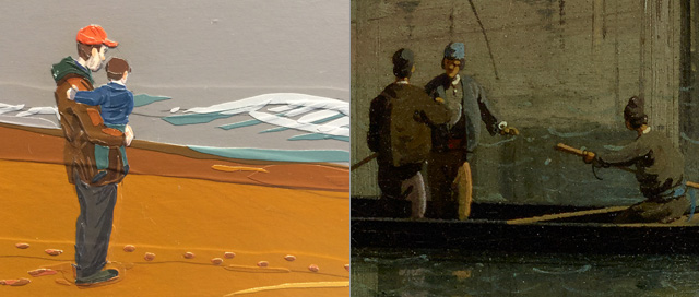 """A detail of Brian Adam Douglas's """"Wasteland"""" (2013), left, and Canaletto's """"The Grand Canal in Venice from Palazzo Flangini to Campo San Marcuola"""" (c.1738), right. (Canaletto images via Getty)"""