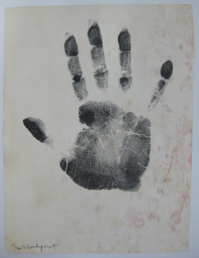 Photos Courtesy of The New York Public Library, Manuscripts & Archives Division: Timothy Leary's Hand Print.