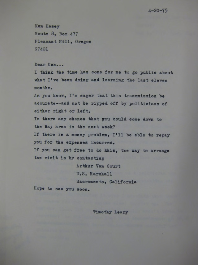 Photos Courtesy of The New York Public Library, Manuscripts & Archives Division: Timothy Leary letter to Ken Kesey from prison 1975
