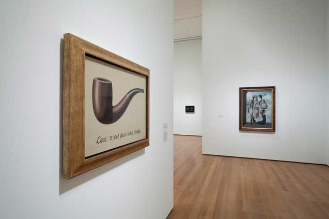 """Installation view, """"Magritte: The Mystery of the Ordinary, 1926–1938"""" at the Museum of Modern Art (© 2013 The Museum of Modern Art, New York) (photo by Jonathan Muzikar)"""
