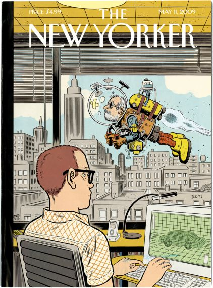 """Daniel Clowes, """"The New Yorker (cover)"""" (2009), black ink on white board 25.5 x 19 x 0.5 in. (64.77 48.26 x 1.27 cm.) (Collection of Daniel Clowes Image courtesy of the artist and Oakland Museum of California)"""