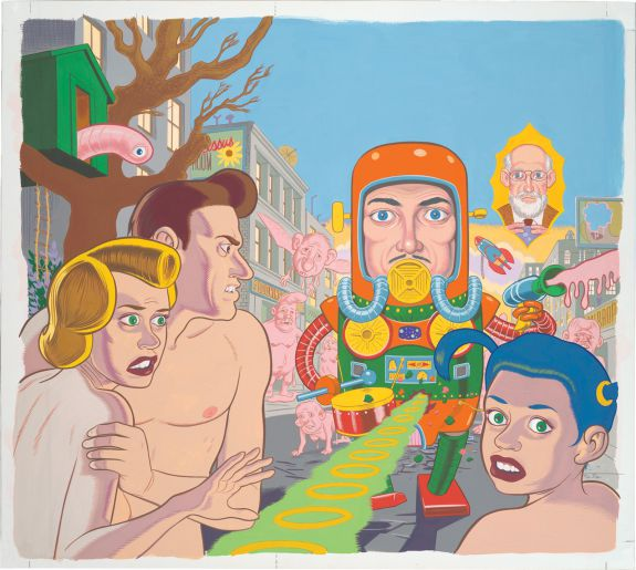 """Daniel Clowes's cover for """"Eightball 18"""" (1997), gouache on white board (Collection of Daniel Clowes Image courtesy of the artist and Oakland Museum of California)"""