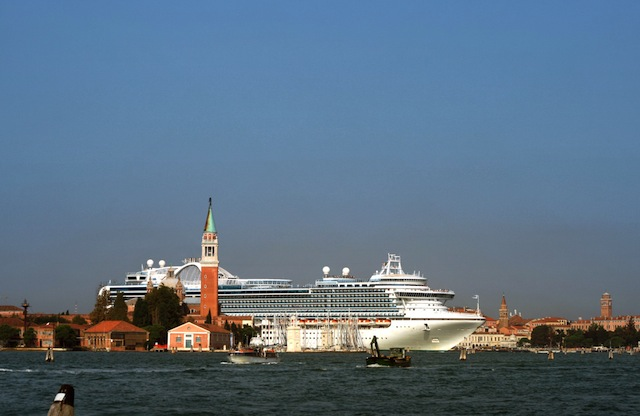 Country: Italy Site: Venice Caption: The current dangerous route of the cruises through the historic center Image Date: 2nd September 2009 Photographer: Pavlos Rekas/World Monuments Fund Provenance: 2014 Watch Nomination Original: from Sharefile