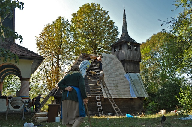 Country: Romania Site: Wooden Churches of Northern Oltenia and Southern Transylvania Caption: Repairs on the roof of the wooden church of Tarnavita Image Date: 2012 Photographer: Dan Cioclu/World Monuments Fund Provenance: Watch 2014 Nomination Original: from Sharefile