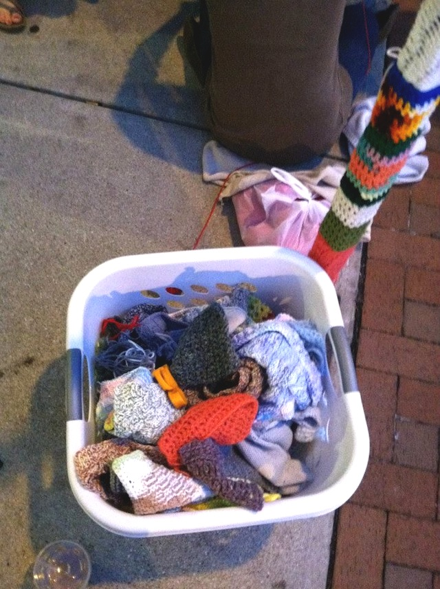 A collection of donated yarns for the Division Street Yarn Bomb project.