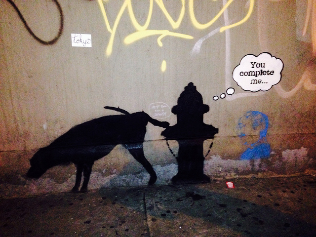 Banksy hits that sweet spot of recognition + a little something extra. Here, it's a joke about co-dependancy. Get it?