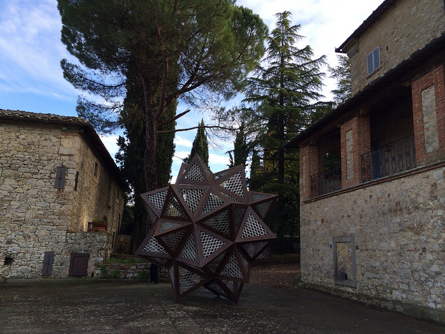 A view of the Castello di Ama estate, where new and old mingle easily.