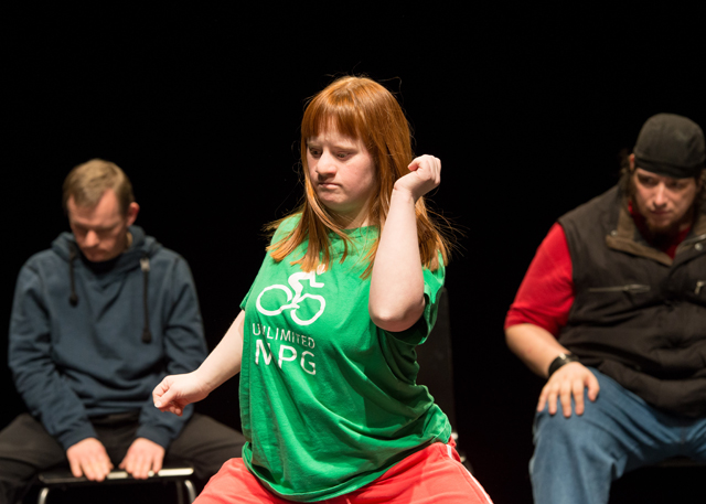 Performer Julia Häusermann performs a solo during Jerome Bel's Disabled Theater. (Photo: Ian Douglas; Courtesy: New York Live Arts)