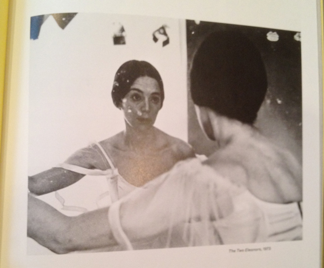 """Photo of Eleanor Antin's printed photograph """"The Two Eleanors"""" (1973) in """"Multiple Occupancy"""" catalogue, published by Wallach Art Gallery. (All photos by author for Hyperallergic)"""