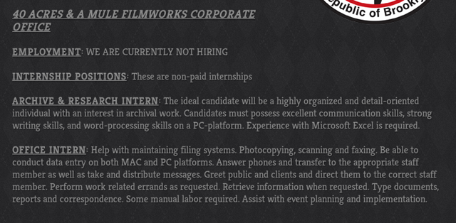Screenshot of part of 40 Acres and a Mule's employment page (via 40acres.com)