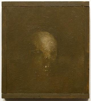 """Jake Berthot, """"Little Black Skull Painting"""" (2012), oil on linen (click to enlarge)"""