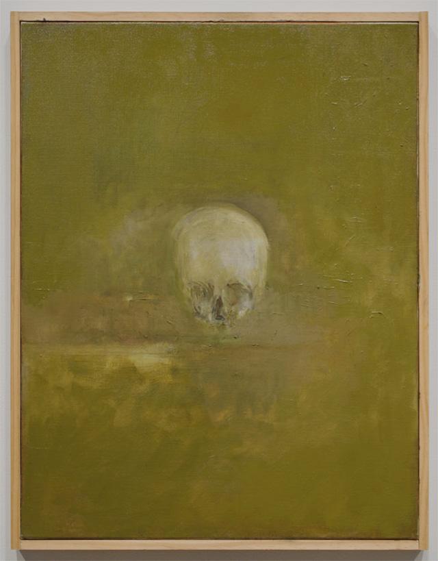 """Jake Berthot, """"Skull"""" (2012), oil on linen, 27 1/8"""" x 21 1/8"""" (all images courtesy Betty Cuningham)"""