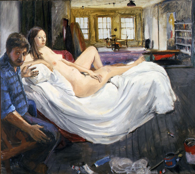 """Paul Georges, """"Self Portrait with Model in Studio"""" (1967–68) (courtesy National Academy Museum)"""