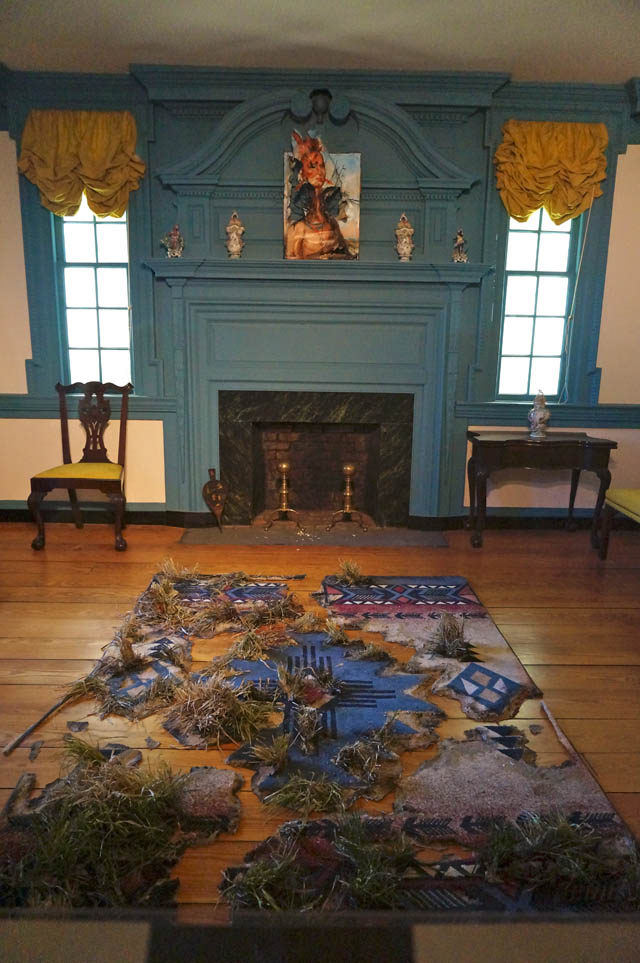 """Valerie Hegarty, """"Native American Chief (Sharitarish) with Branches"""" and """"Native American Rug with Marsh Grass"""" (both 2013), in the Cupola House parlor"""