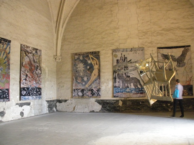 The room of Kiki Smith's tapestries at the Popes' Palace