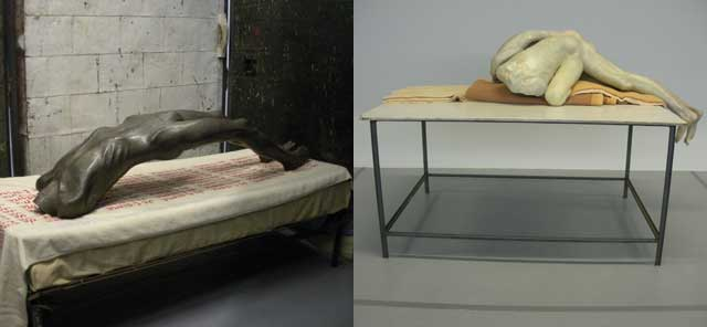 Left: work by Bourgeois; right: work by de Bruyckere