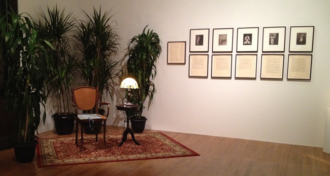 """Installation shot of """"Recollections of My Life with Diaghalev 1919-1929"""" (1975-1976), by Eleanor Antin. (All photos by author for Hyperallergic)"""