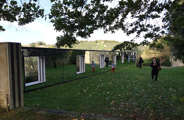"Daniel Buren's """" placed in the landscape of Castello di Ama."