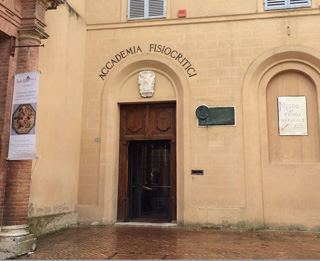 The entrance of the Accademia dei Fisiocritici in Siena, Italy.