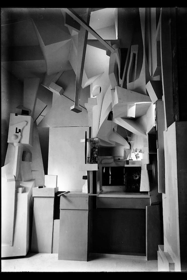 "Kurt Schwitters' ""Merzbau,"" photographed in 1933 (via Galerie op Weg)"