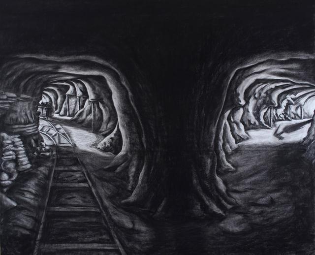 """Sasti Underground Mine no.3"" (2013), Charcoal on Paper, 60in X 72"
