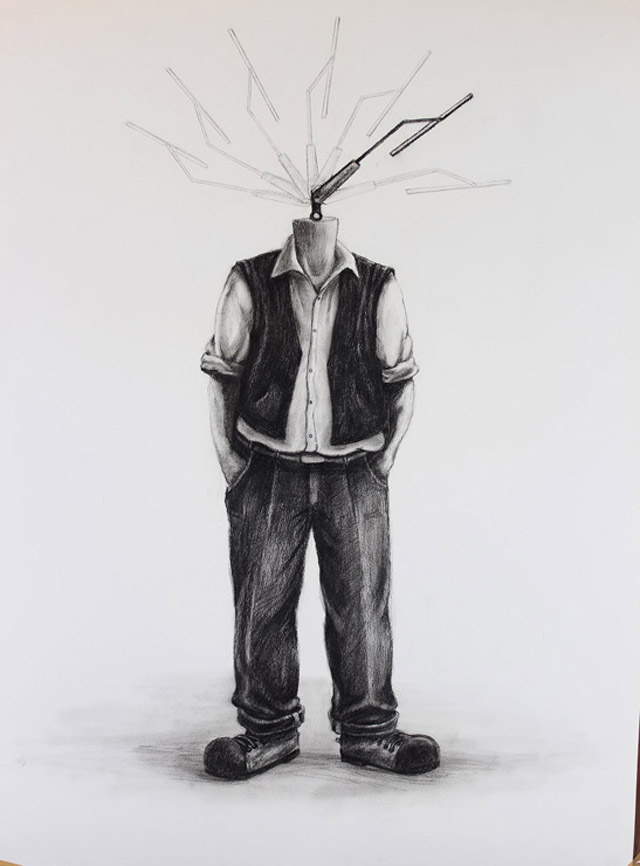 """""""Wide Angle"""" (2013), Charcoal on paper, 24 x 36"""