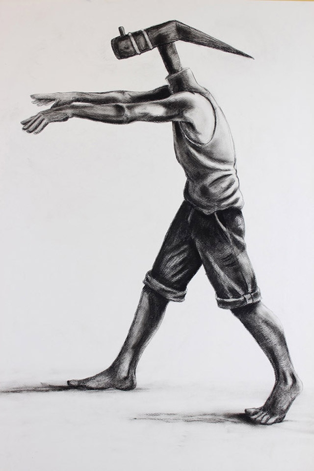 """""""Back to the Farm I"""" (2013), Charcoal on paper, 24in x 36in."""