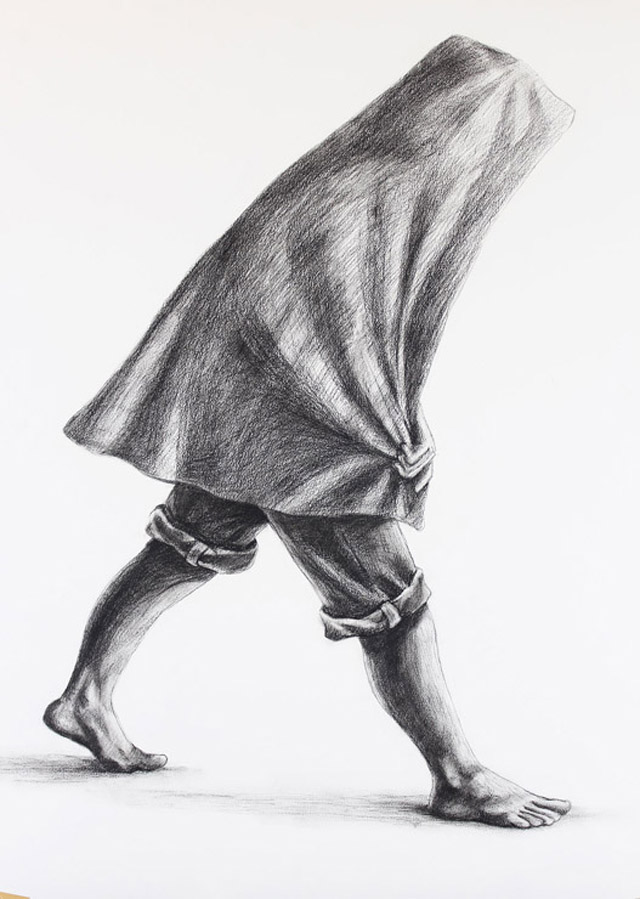 """""""Back to the Farm II"""" (2013), Charcoal on paper, 24in x 36in"""